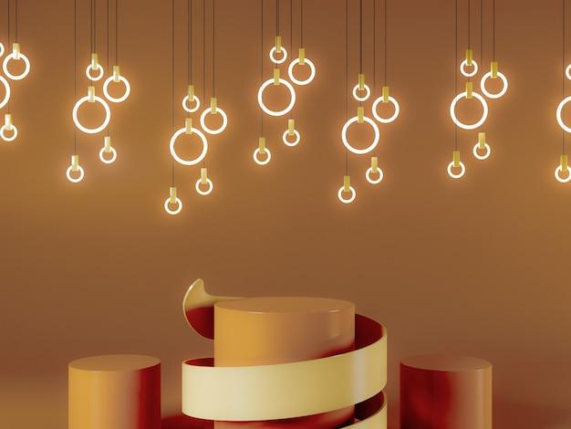 3dレンダリングされた照明製品の表彰台またはステージデザインの背景
