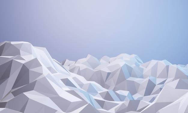 3d 렌더링 낮은 폴리 얼음 산 자연보기 그림 추운 환경