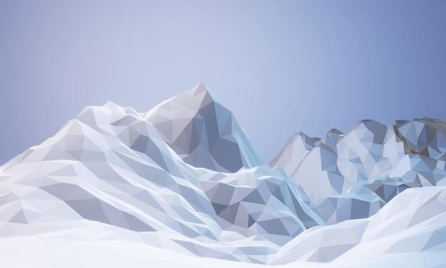 3d 렌더링 낮은 폴리 빙산.