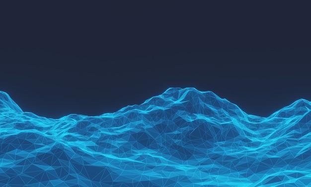 Низкополигональная топографическая гора с 3d-рендерингом. синяя местность.