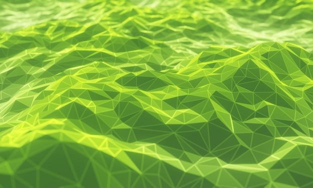 Низкополигональная топографическая гора с 3d-рендерингом. зеленая местность.