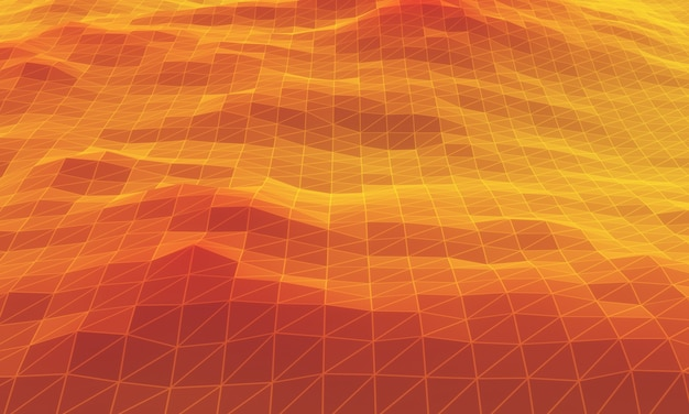Низкополигональная топографическая гора с 3d-рендерингом. красная и желтая сетка ландшафта.