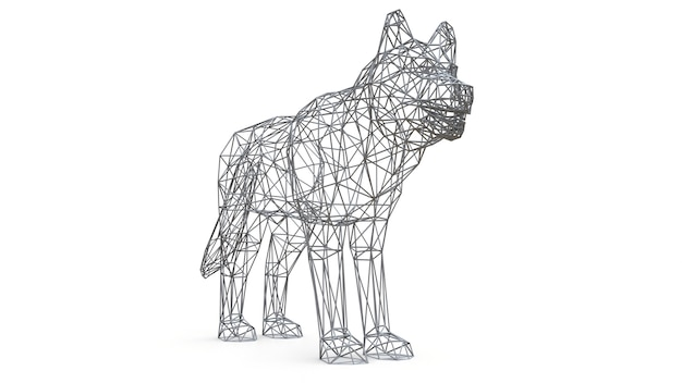 3d rendered mesh dog on isolated white background