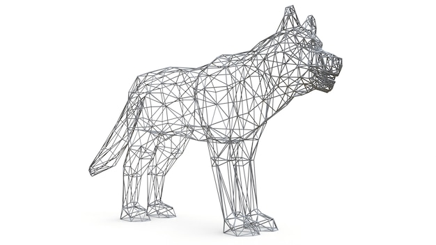 3d rendered mesh dog on isolated white surface