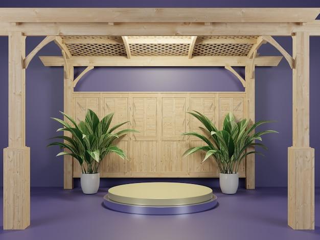 3dレンダリングされた自然庭園の表彰台ステージの背景