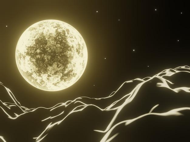 3d 렌더링 밤 노란 달과 산