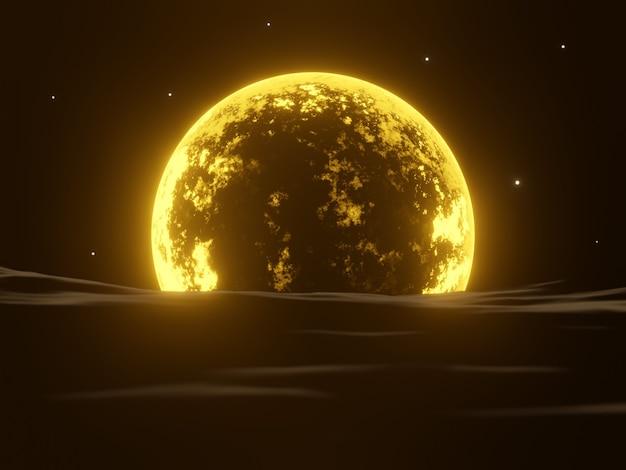 3d 렌더링 밤 노란 달과 물