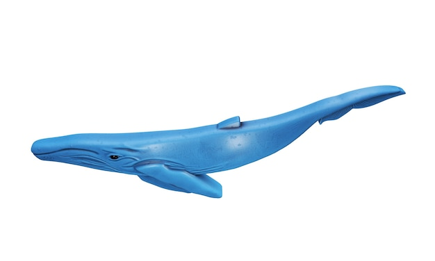 3d rendered object illustration of an abstract blue whale