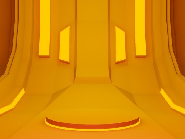 3dレンダリングされたオレンジ色の未来的なステージ
