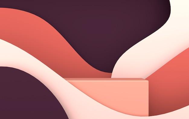 제품 프레젠테이션을 위한 3d 렌더링된 종이 파도 및 연단 플랫폼