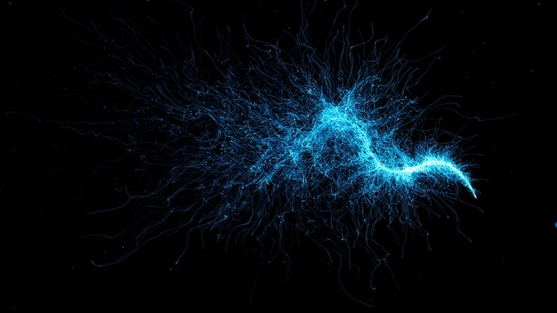 3dレンダリングされたパーティクルトレイルの背景。抽象的で詳細な粒子構造。粒子は、波の軌道を形成する点から放出されます。