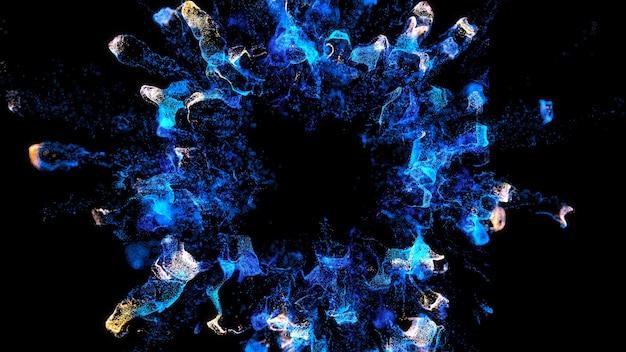 フレームの中心から外側の境界に流れる3dレンダリングされたパーティクル。魔法の粉塵爆発。