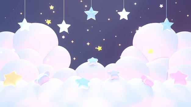 3d 렌더링된 파스텔 구름과 밤하늘에 매달려 있는 별