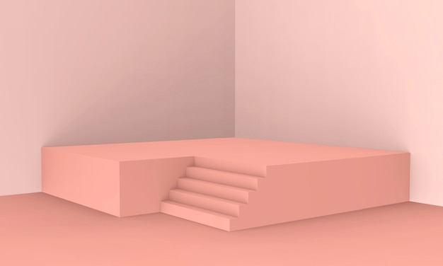 3d rendered - peach pink color podium product display background