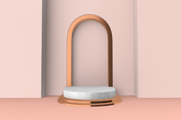 3d rendered - peach pink cylinder podium product display stand background