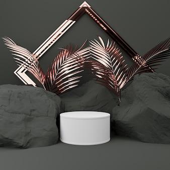 3dレンダリング。ディスプレイ用台座、台座またはプラットフォーム、石と岩の形状の背景、空白の製品スタンド。