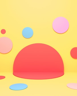 3d rendered picture of colorful circles room