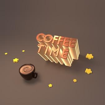 コーヒータイムの3dレンダリングされた画像は、ラテのカップといくつかの黄色い星の装飾に署名します