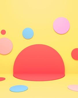 カラフルな円の部屋の3dレンダリングされた画像