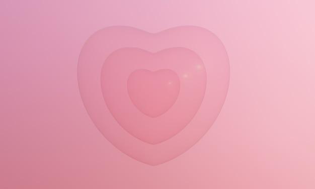3d 렌더링 핑크 하트 거품. 사랑스러운 발렌타인.