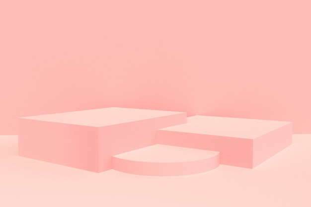 3d rendered - pink podium product display mockup