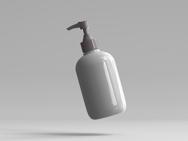 3d rendered plastic pump bottle without a label
