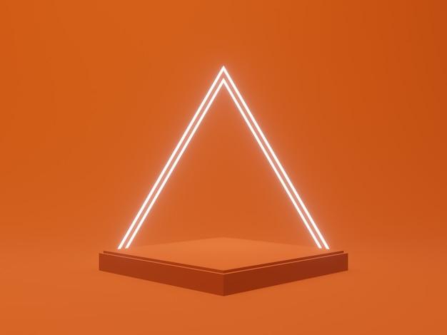 3d로 렌더링된 제품 스탠드. 흰색 네온 불빛이 있는 주황색 연단입니다.