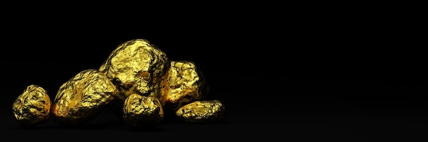 3d rendered  pure gold nugget on  black background