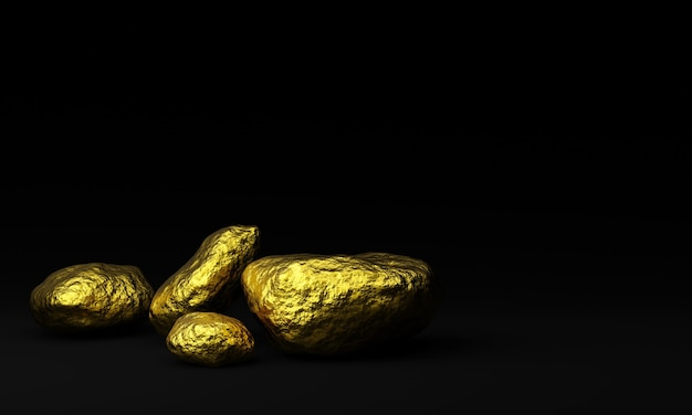 3d rendered  pure gold nuggets on black background