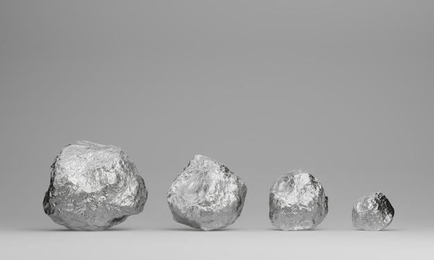 복사 공간이있는 3d 렌더링 순은 광석