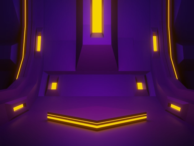 3d 렌더링 보라색 우주선 방 무대. 미래 배경.