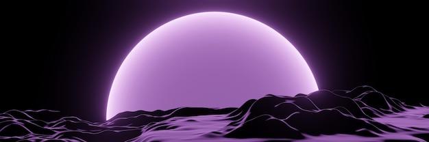 3d визуализация фиолетового топографического ландшафта. чужая планета.