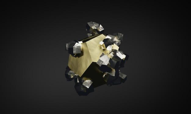 3dレンダリングされた黄鉄鉱の結晶形foolsゴールドミネラル