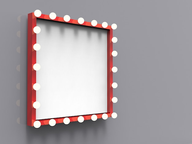 3d rendered red frame with light bulbs surround