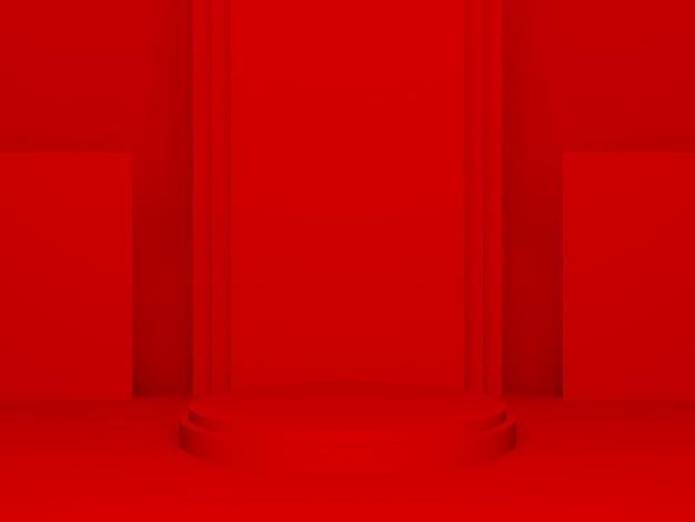 3d 렌더링된 빨간색 기하학적 제품 연단입니다.