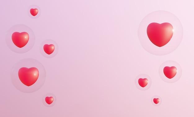 3d 렌더링 붉은 마음과 분홍색 배경에 거품. 사랑스러운 발렌타인.