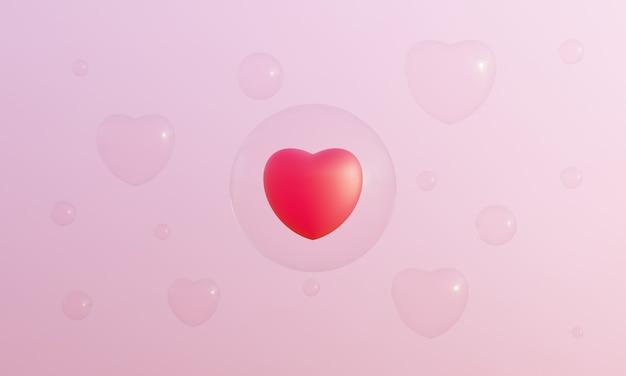 ピンクの背景に赤いハートと泡を3dレンダリングしました。素敵なバレンタイン。
