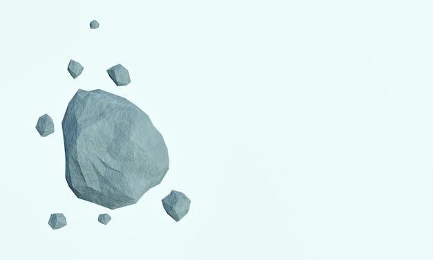 3d rendered rock boulder falling.