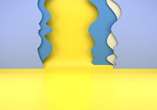 3d визуализация сцены с бумажными волнами