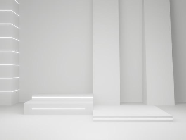 3d 렌더링된 과학 제품 스탠드. 화이트 스테이지.