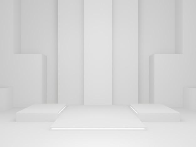 3d 렌더링된 과학 제품 스탠드입니다. 화이트 스테이지.