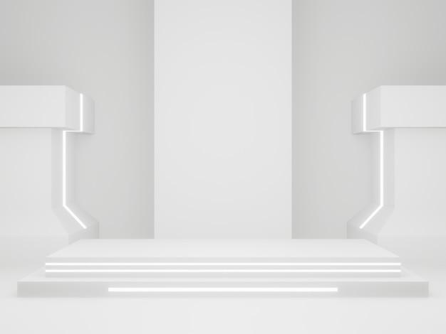 3d 렌더링된 과학 무대. 흰 바탕.