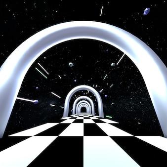 3d 렌더링 된 공상 과학 우주 복도 광장 비율