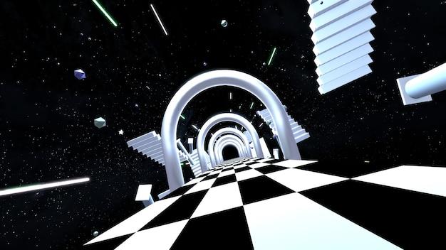떠 있는 계단과 기둥이 있는 3d 렌더링된 공상 과학 우주 복도