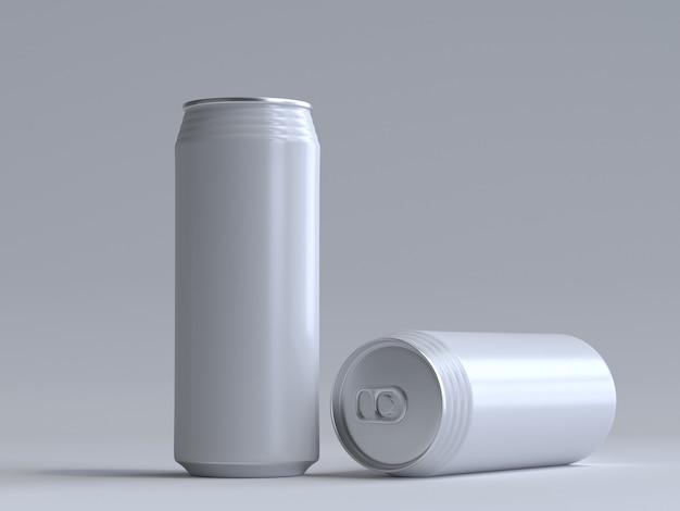 라벨이없는 3d 렌더링 음료수 캔