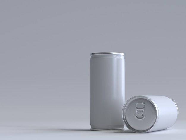 3d rendered soda can without a label