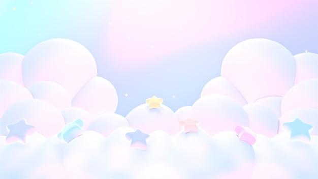 별이 있는 3d 렌더링된 부드러운 꿈결 같은 파스텔 구름