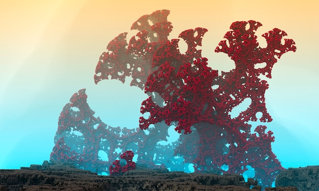 3dレンダリングされたスペースアート:エイリアンプラネット-桃と青い霧のあるファンタジーの風景。巨大な珊瑚。