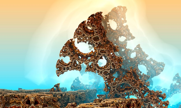 3dレンダリングされたスペースアート:エイリアンプラネット-桃と青い霧のあるファンタジーの風景。