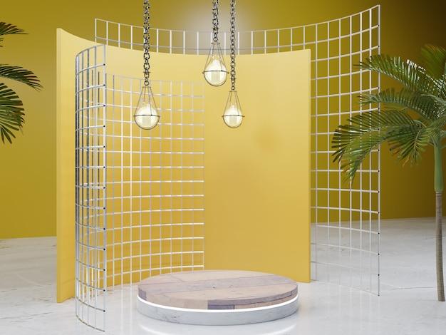 3dレンダリングされたスタジオ照明製品の表彰台の背景